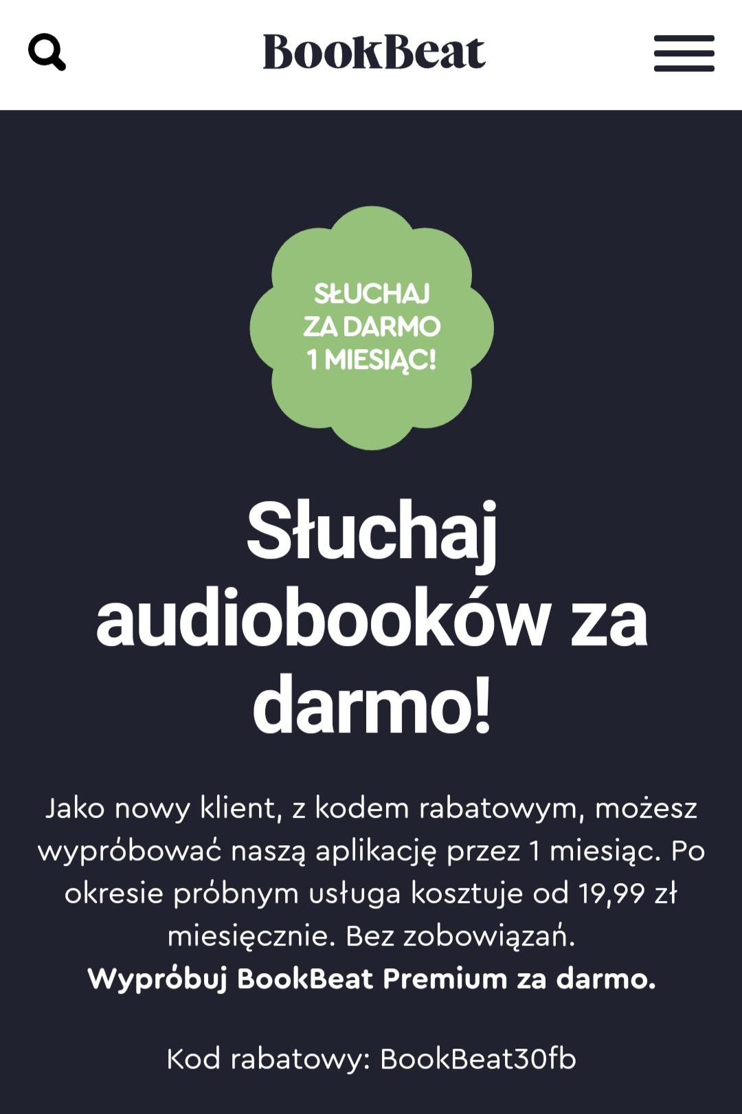 BookBeat.pl audiobooki za darmo przez 30 dni