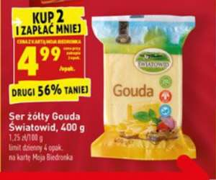 Ser żółty Gouda 400g 4.99pn Biedronka