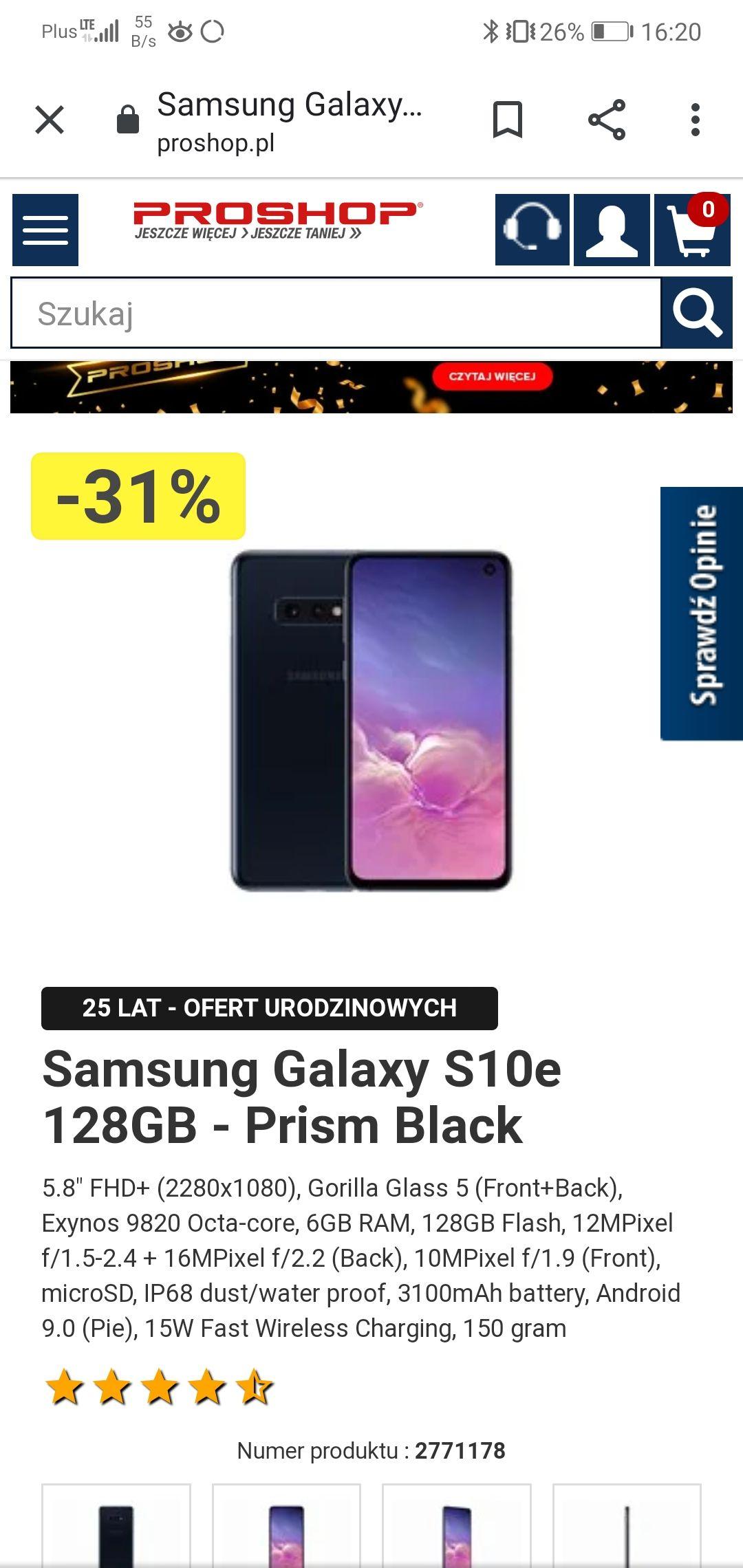 Samsung Galaxy S10e 128GB - Prism Black