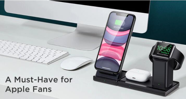Bezprzewodowa ładowarka 3w1 do Apple iPhone, AirPods i Apple Watch @AliExpress
