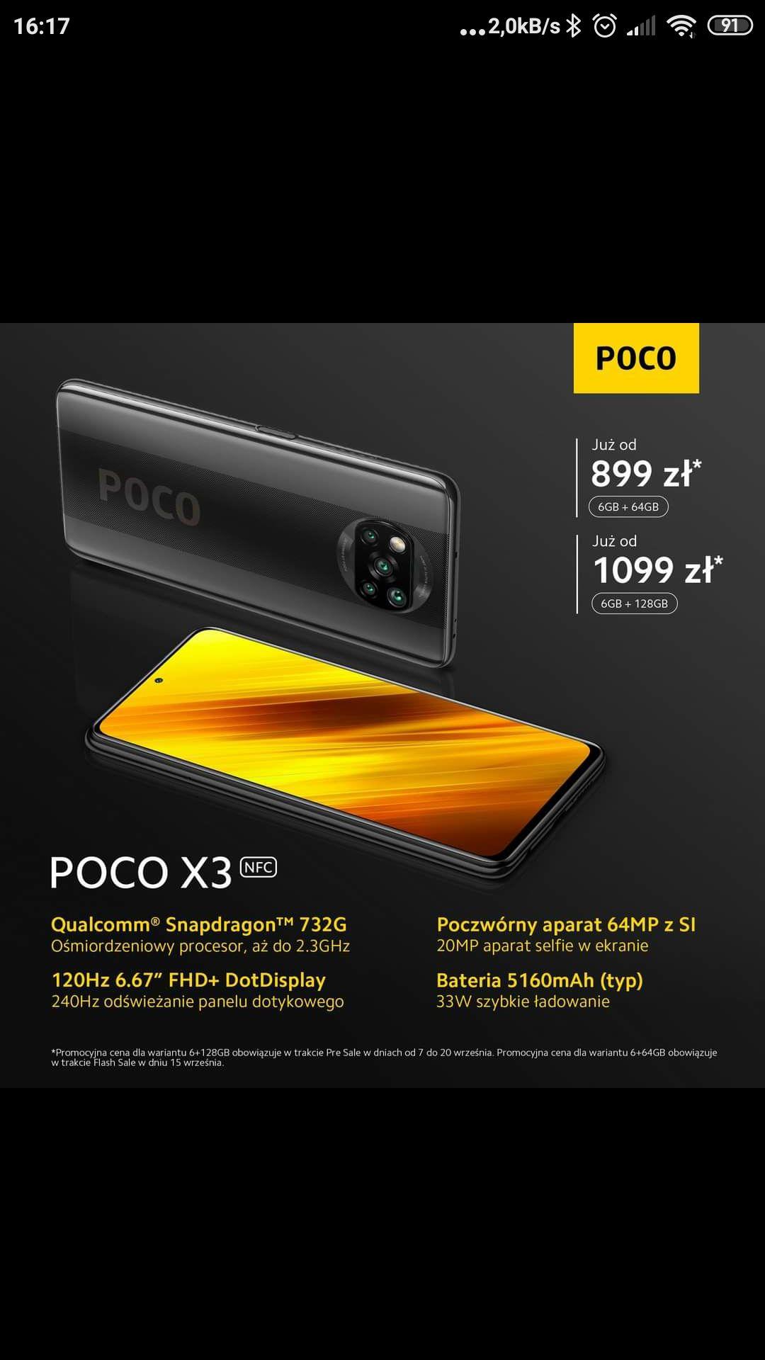 Xiaomi Poco X3 6/64 za 899 PLN - polska dystrybucja - flash sale 15.09.