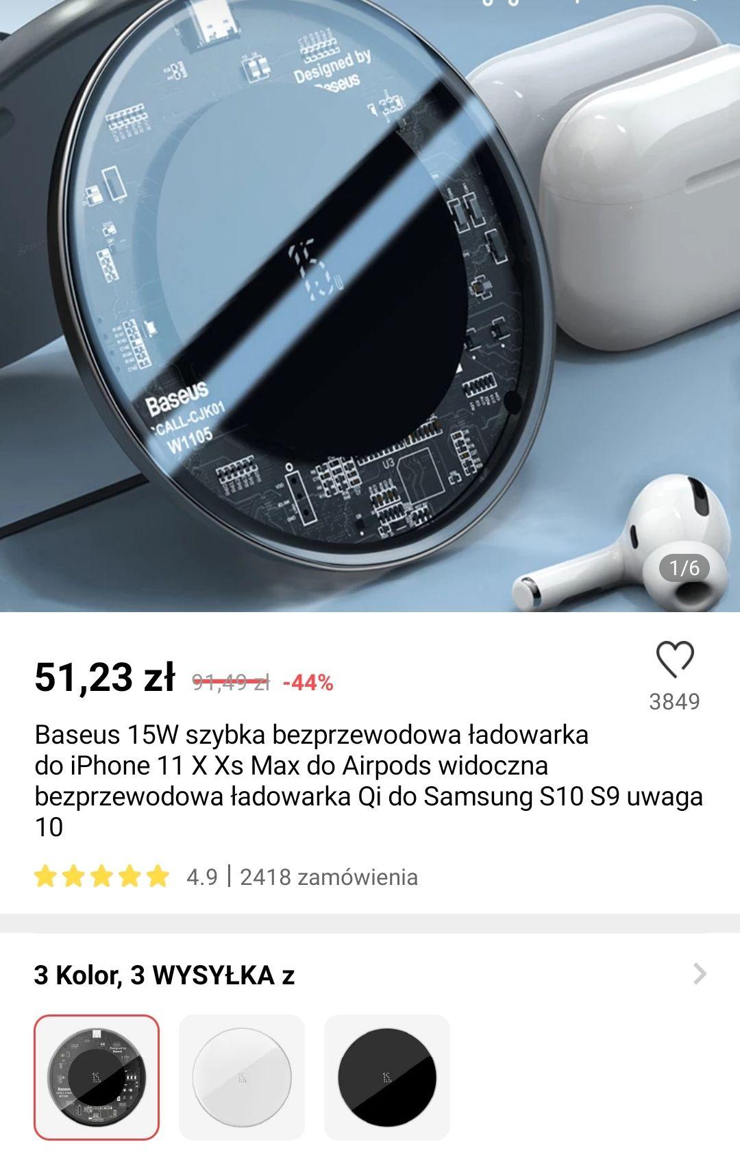 Baseus 15W bezprzewodowa ładowarka $11,51