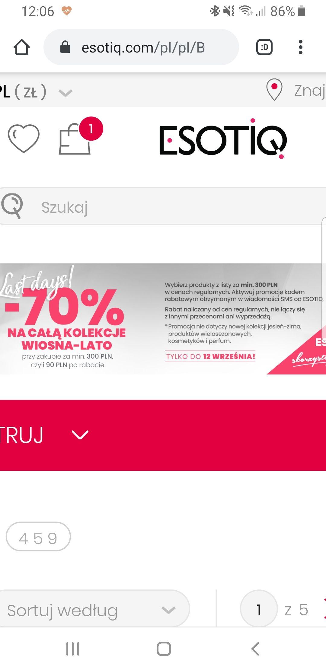 Esotiq -70% na CALA KOLEKCE WIOSNA-LATO przy zakupie za min. 300zl