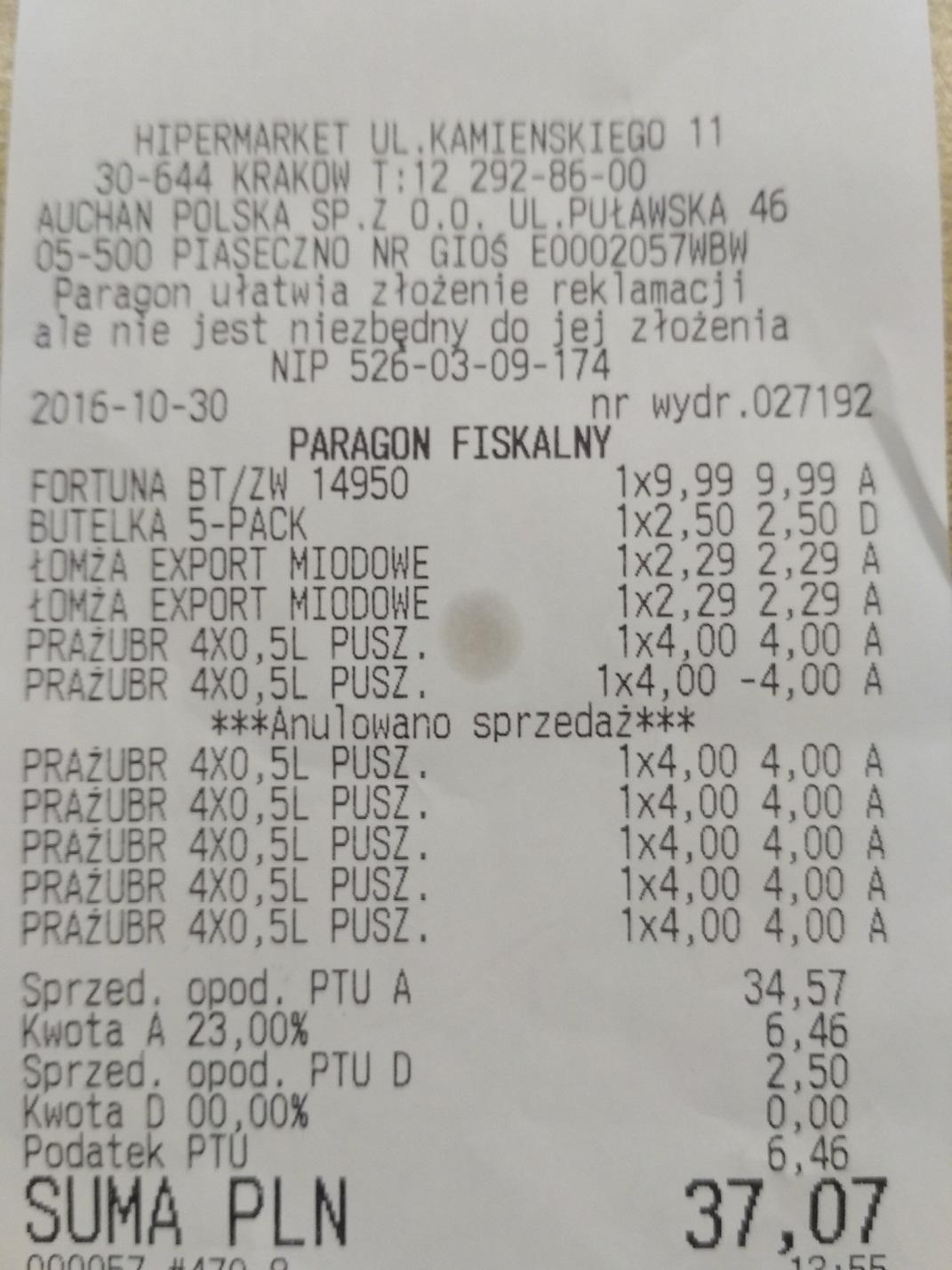Prażubr 4-pak / Kraków / Auchan Bonarka