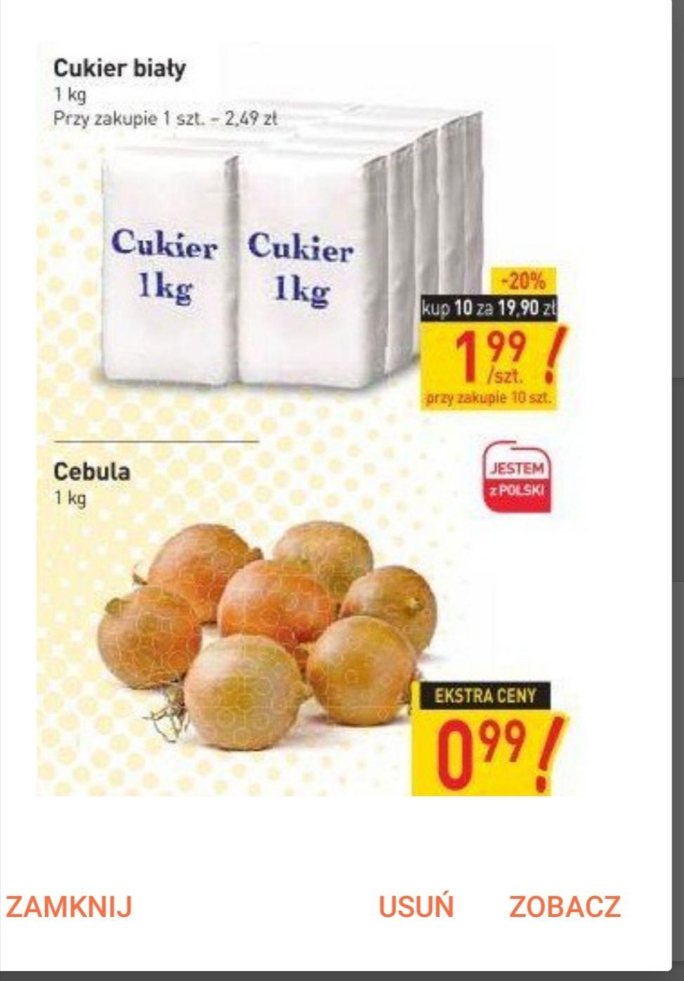 cukier za 1.99 przy zakupie 10kg, cebula 0,99/kg@Stokrotka