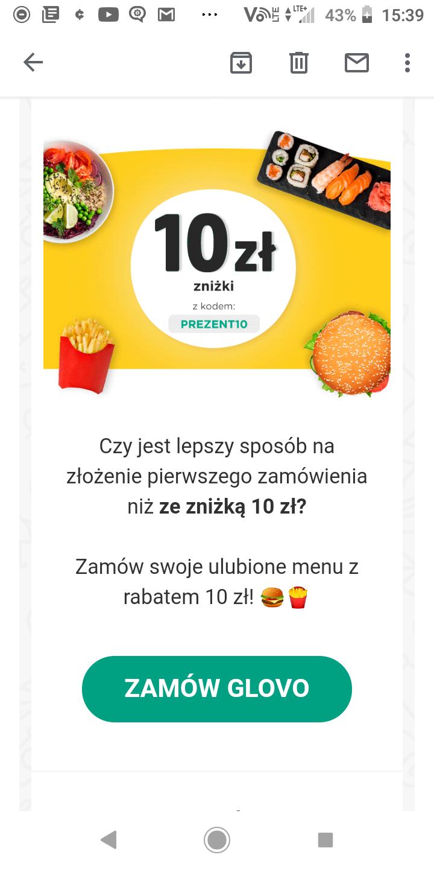 Zniżka 10zł na pierwsze zakupy w Glovo