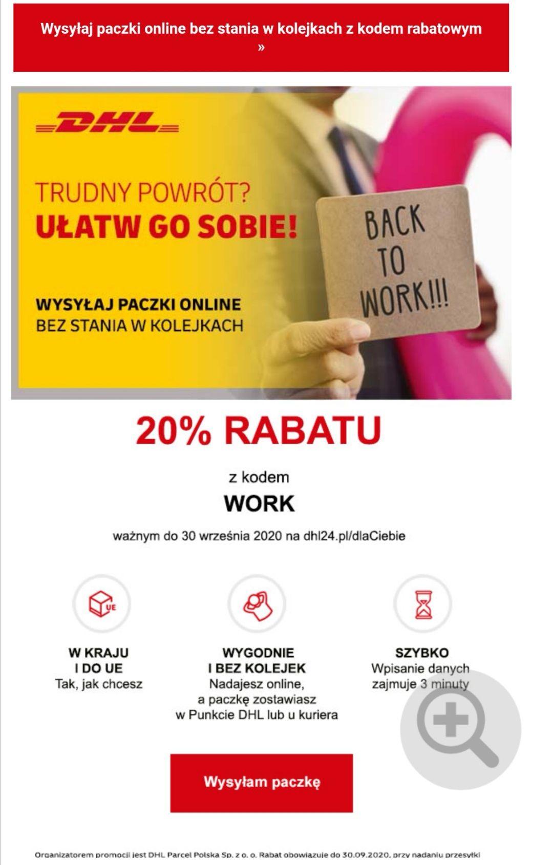 -20% na nadanie paczki w DHL - PL/UE