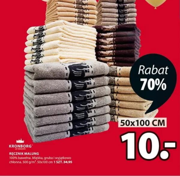 Ręcznik 100% bawełna 50x100 cm 500g/m3 70x140 cm 20 zł @Jysk