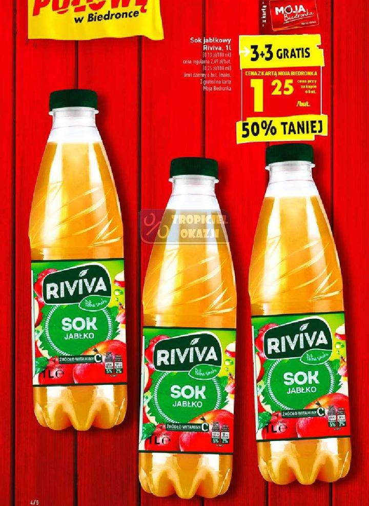 Sok jabłkowy Riviva 1l 3+3 gratis. Biedronka