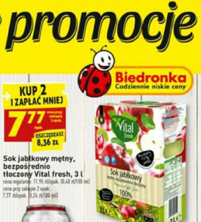 Naturalny sok jabłkowy mętny, bezpośrednio tłoczony Vital fresh 3l 7.77zł przy zakupie 2 szt. BIEDRONKA