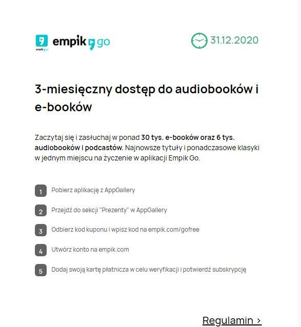 3-miesięczny dostęp do audiobooków i e-booków na Empik Go
