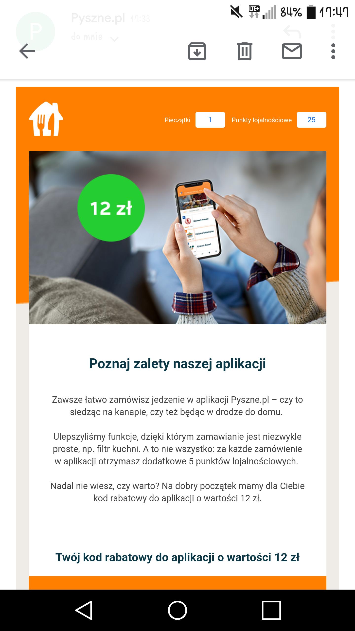 Pyszne.pl - kod rabatowy -12 zł (mwz 25 złotych)