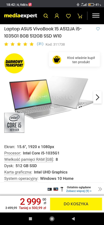 Laptop ASUS VivoBook 15 A512JA i5-1035G1 8GB 512GB SSD W10