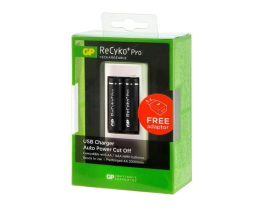 Ładowarka GP USB U211 (2 x AA 2000mAh) + ładowarka ścienna WA12