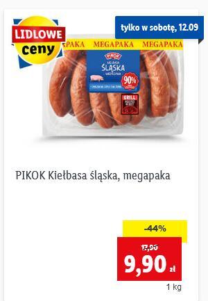 Kiełbasa śląska 90% mięsa wieprzowego Pikok 9,90 zł/kg|Kurczak 3,99 zł/kg @Lidl
