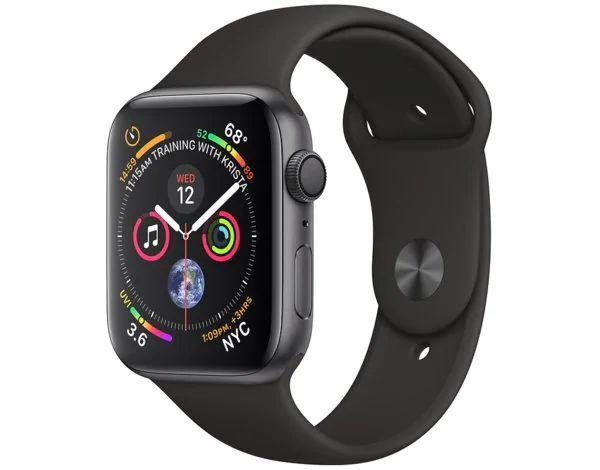 SmartWatch APPLE Watch Series 4 Koperta 44 mm z aluminium w kolorze gwiezdnej szarości z paskiem sportowym w kolorze czarnym MU6D2WB/A