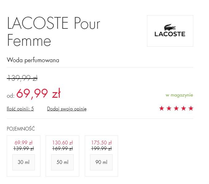 LACOSTE Pour Femme za 69,99 zł