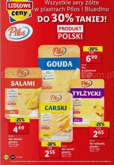 Wszystkie sery żółte w plastrach Pilos i Bluedino Do 30% taniej @Lidl