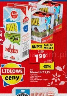 Mleko UHT 3,2% MU! przy zakupie 12 opak.|Kefir Krasnystaw 500g 1,49 zł @Lidl