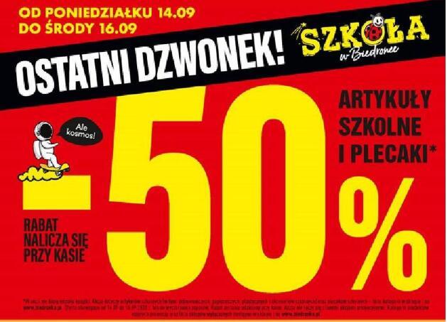Artykuły szkolne i plecaki -50 % @Biedronka