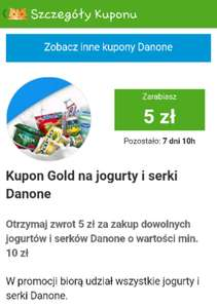 Kupon Gold na jogurty i serki Danone @Żbik