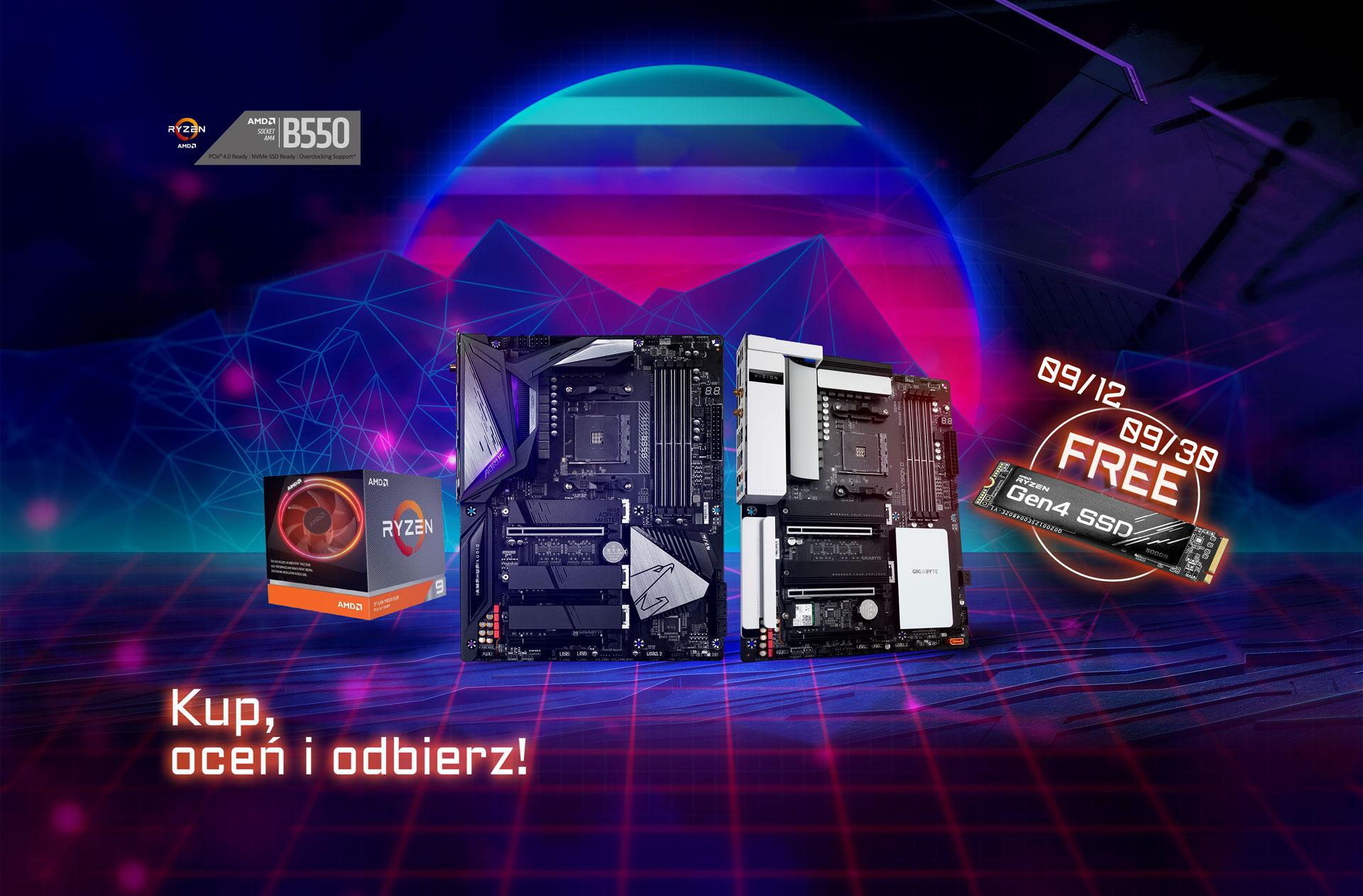 Promocja Gigabyte za recenzję płyty B550 zakupionej wraz z procesorem AMD w wybranych sklepach (w prezencie dysk SSD Gen 4 - 500 GB)