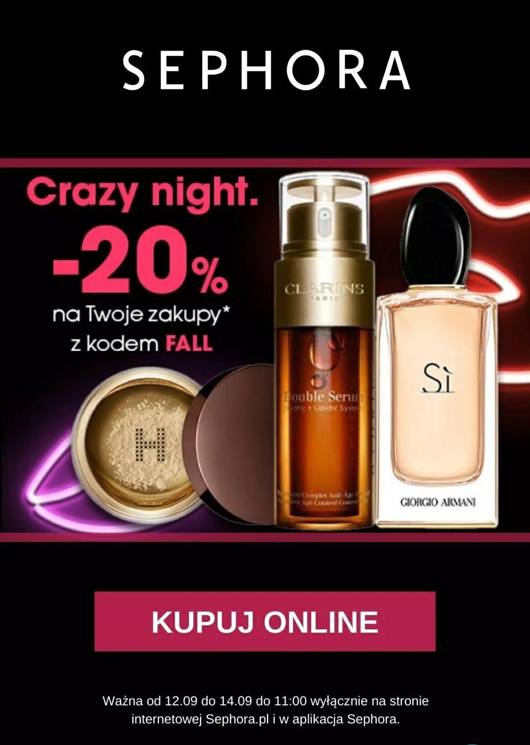 20% rabatu na zakupy online. Ważne do 14.09. do 11:00 @Sephora