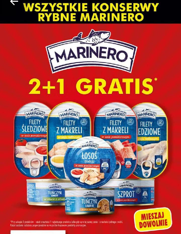 Wszystkie konserwy rybne Marinero 2+1 GRATIS. Biedronka