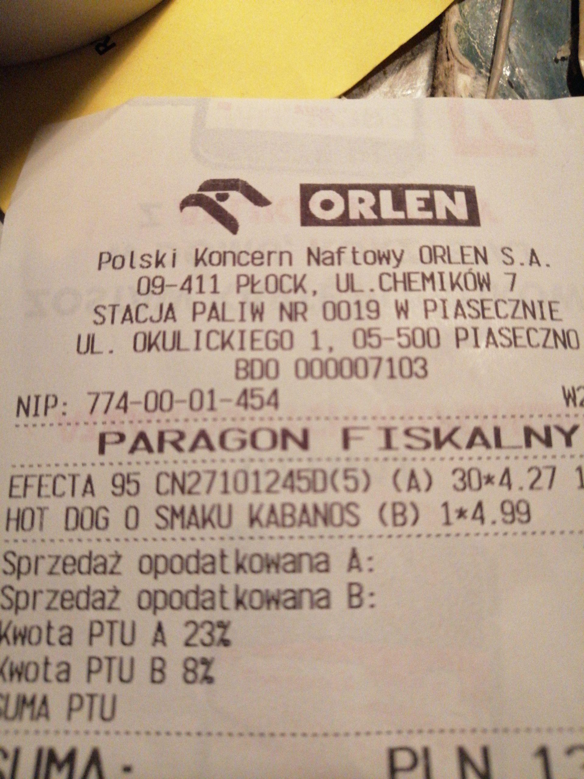 Pb 95 Orlen Piaseczno