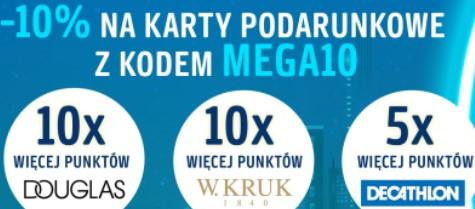 -10% na karty podarunkowe Decathlon, Douglas i W.KRUK + 10x więcej punktów za zakupy w Douglas, W.KRUK, 5x w Decathlon. Mega Weekend Payback
