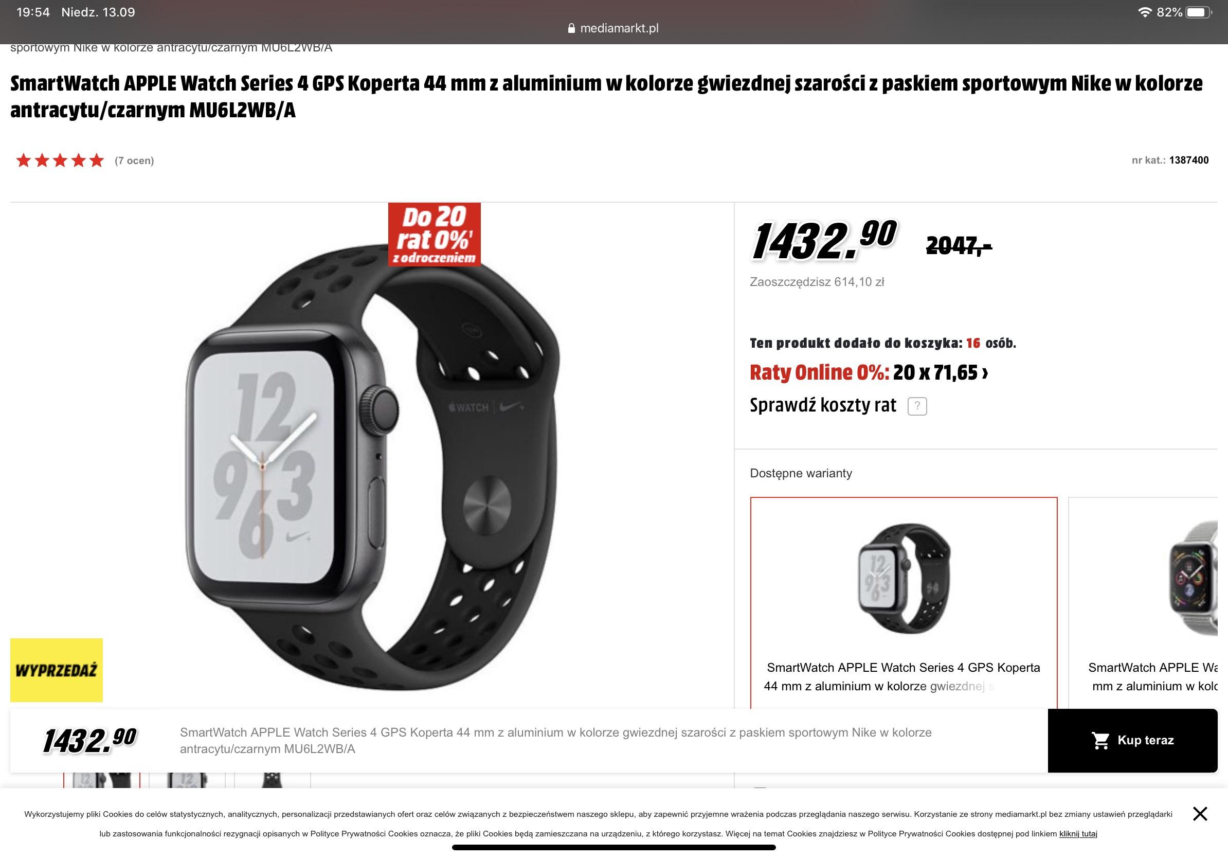 APPLE Watch Series 4 GPS Koperta 44 mm z aluminium