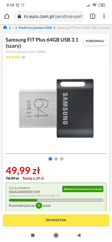 Pendrive Samsung FIT Plus 64GB USB 3.1