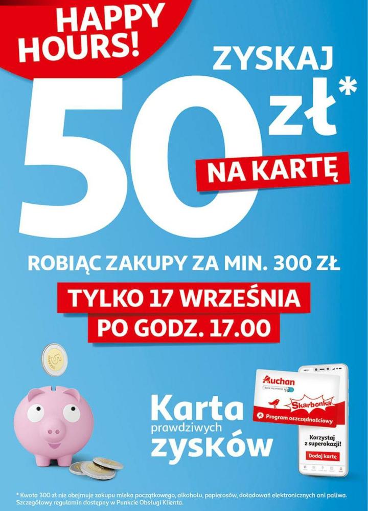 Zyskaj 50zł na kartę Skarbonki robiąc zakupy za min. 300zł. Auchan