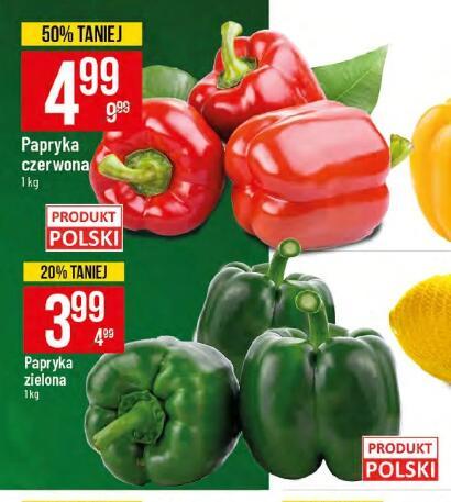 Papryka zielona 3,99 zł/kg|Papryka czerwona 4,99 zł/kg|Jabłka 2,99 zł/kg|Winogrona bez/róż 4,99 zł/kg|Gruszki 3,99 zł/kg i inne @Polomarket