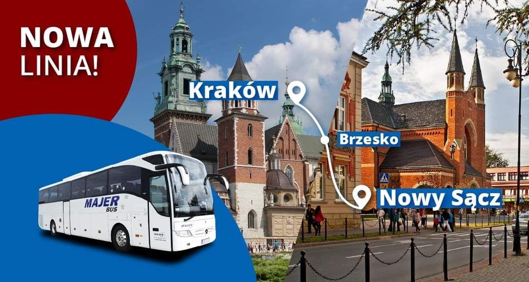 Bilet 15% taniej z kodem na nowej trasie Nowy Sącz - Kraków [MajerBus]