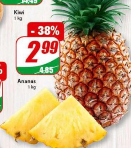 Ananas 2,99 zł/kg|Kapusta biała 0,99 zł/kg|Ziemniaki 4kg 2,76 zł|Kalafior 3,49 zł/szt. @Dino