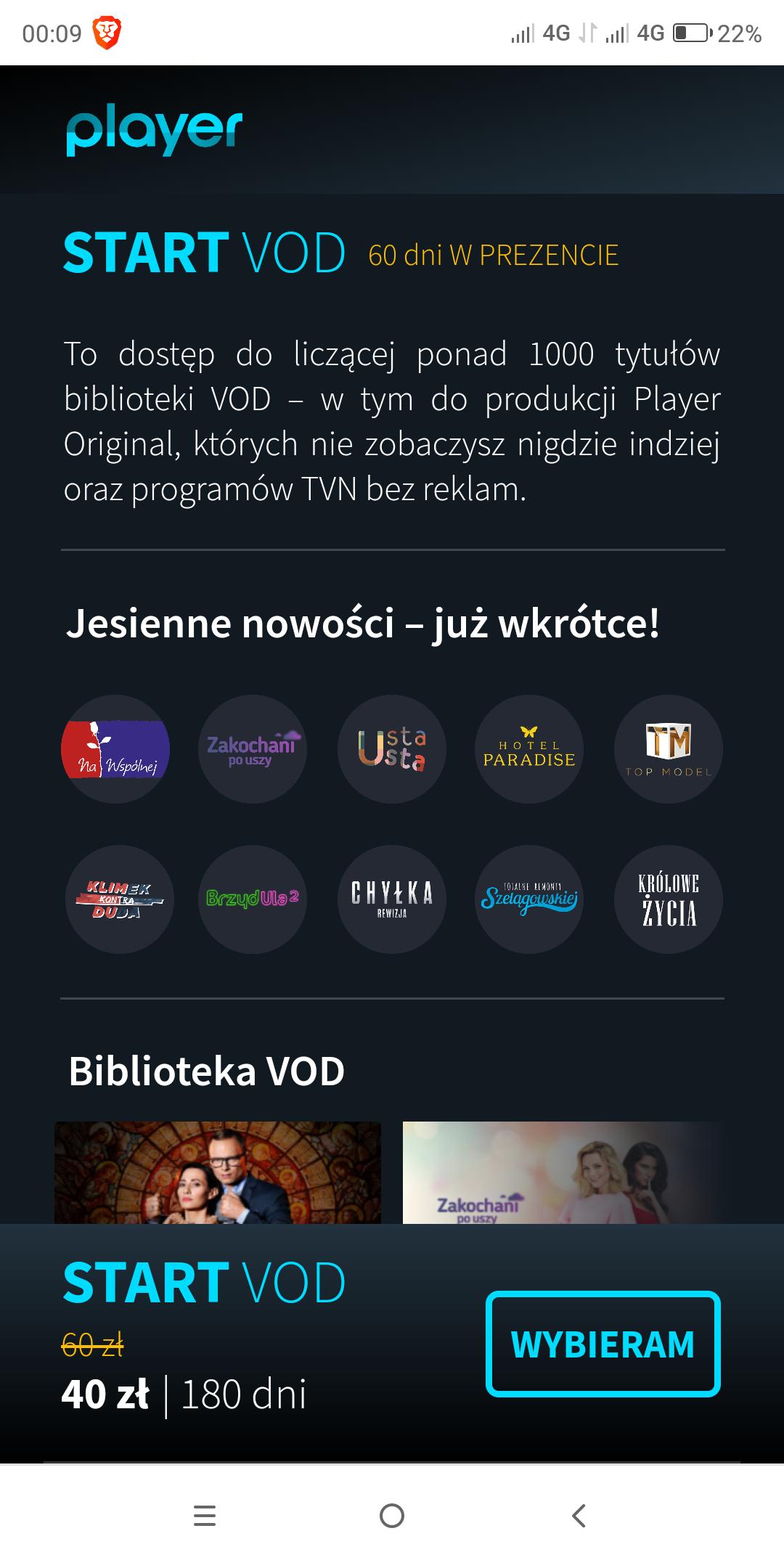Player - pakiet Start VOD