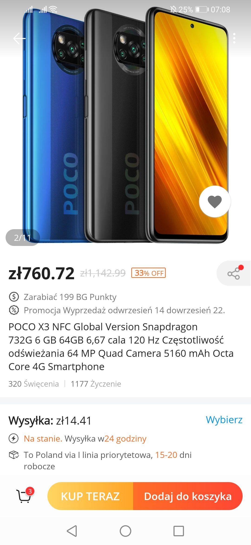 POCO X3 NFC Global 64GB $199 lub 128GB za 249$