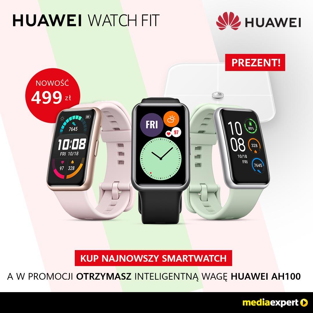 HUAWEI WATCH FIT + INTELIGENTNA WAGA HUAWEI AH100 W PREZENCIE
