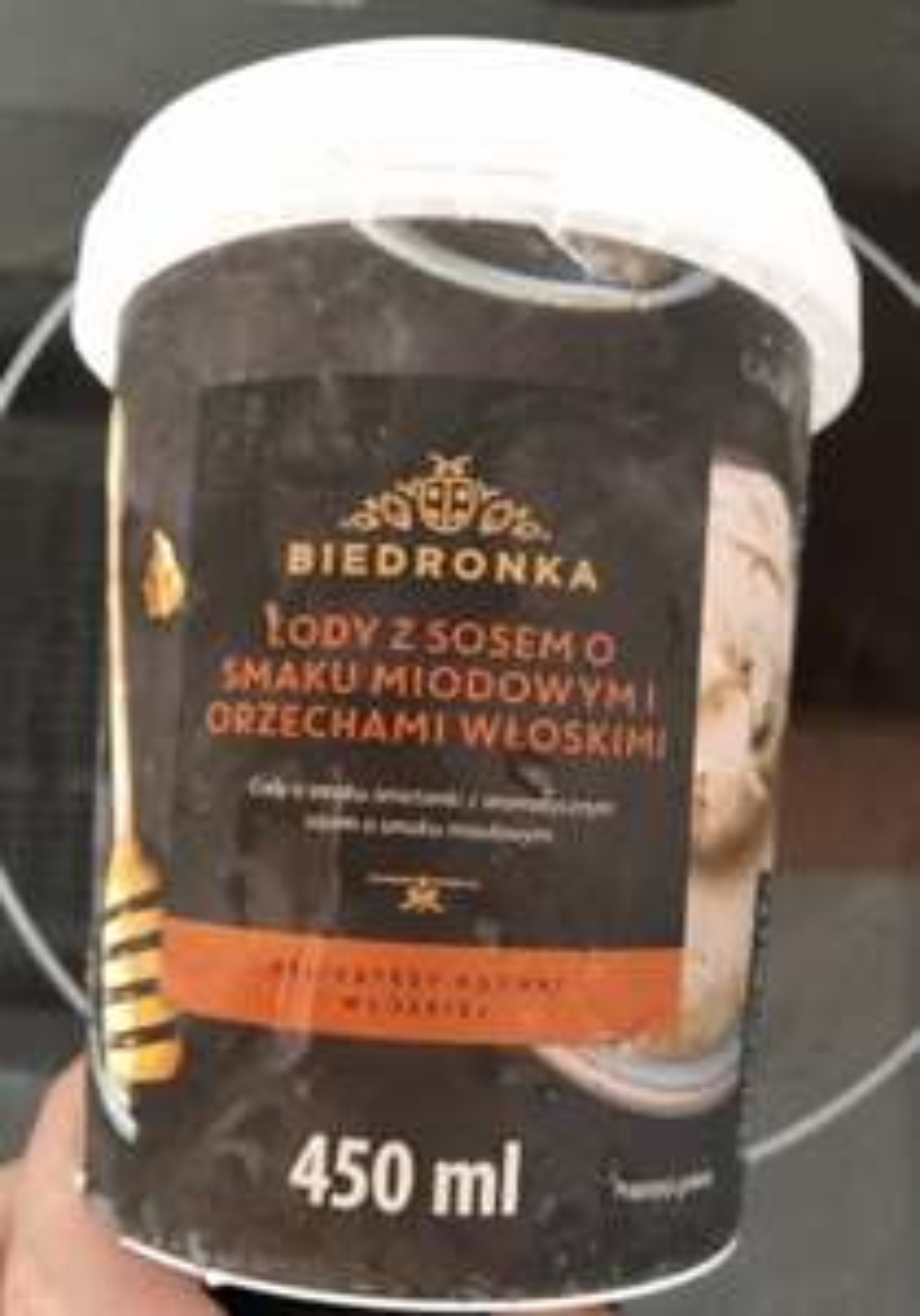 Lody 450 ml z sosem miodowym i orzechami włoskimi/Lody owalne 850 ml czekoladowe z sosem o smaku słonego karmelu