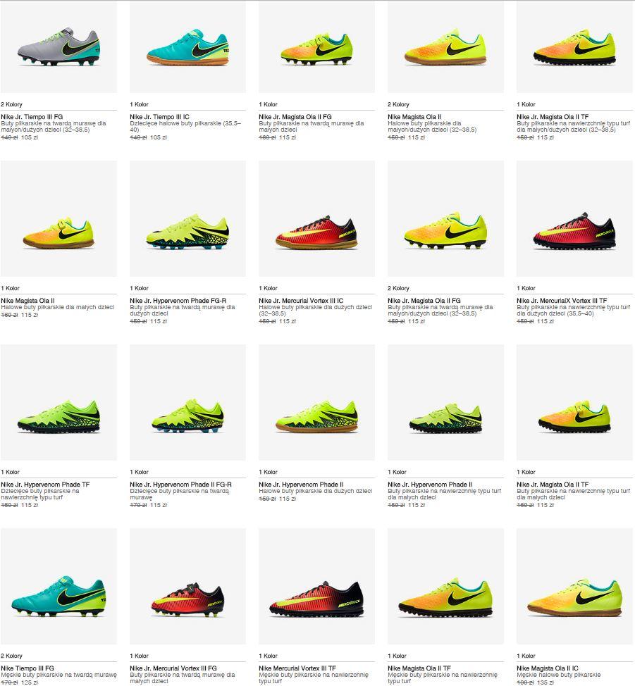 Buty piłkarskie męskie od 135zł, dziecięce od 105zł - na różne nawierzchnie (min. 20% taniej) @ Nike