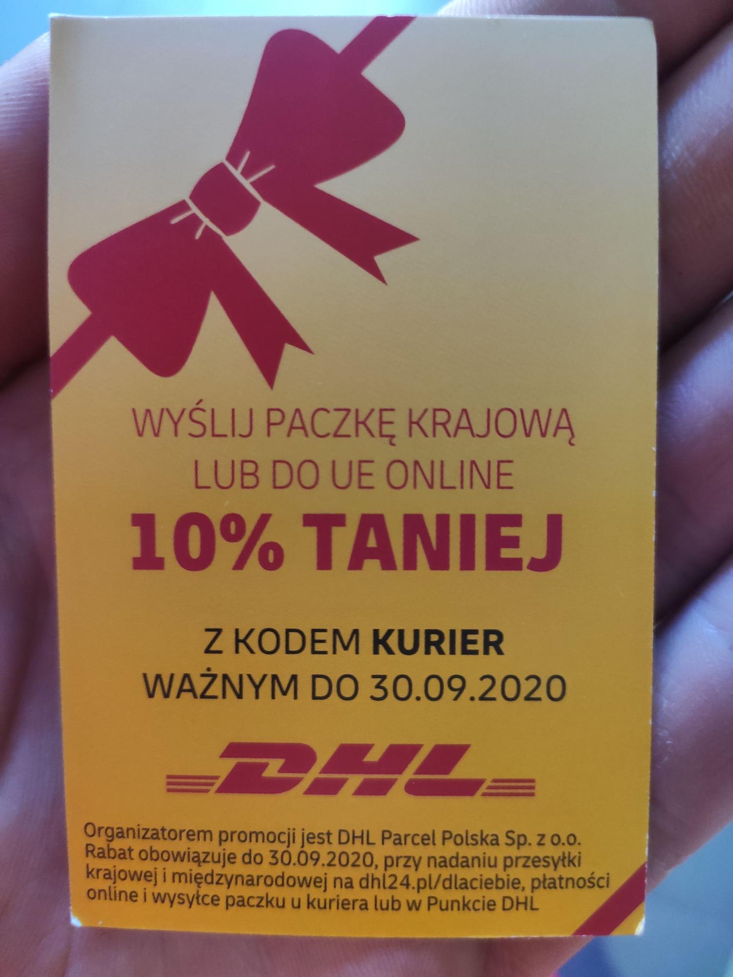 10% rabatu na przesyłki DHL PARCEL