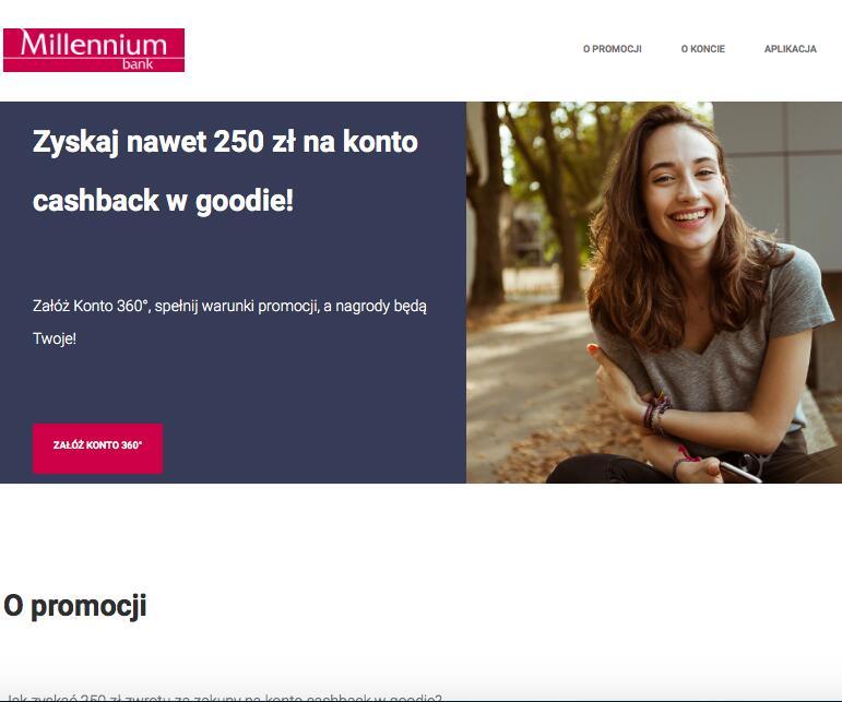 Bank Millennium: zyskaj nawet 250 zł na konto cashback w goodie
