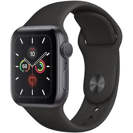 Apple Watch Series 5 44mm GPS aluminium w kolorze gwiezdnej szarości z paskiem sportowym w kolorze czarnym