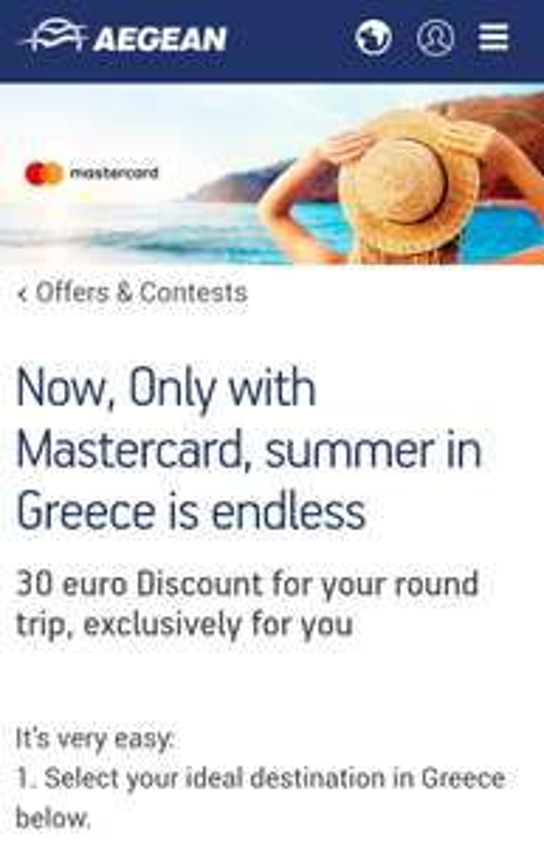 Zniżka 30% lub EUR30 Na loty do Grecji @AEGEAN Airlines