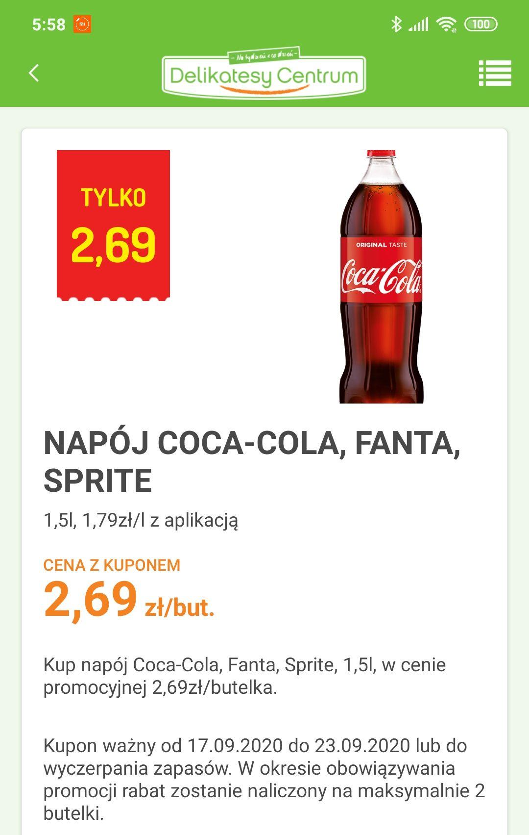 Coca-Cola, Fanta, Sprite 1,5L delikatesy centrum