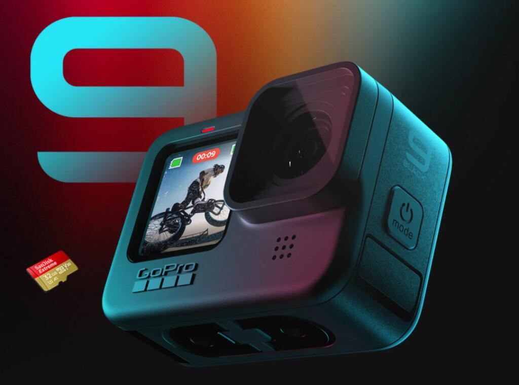 Kamera GoPro Hero 9 BLACK + roczna subskrypcja + karta SanDisk Extreme 32GB