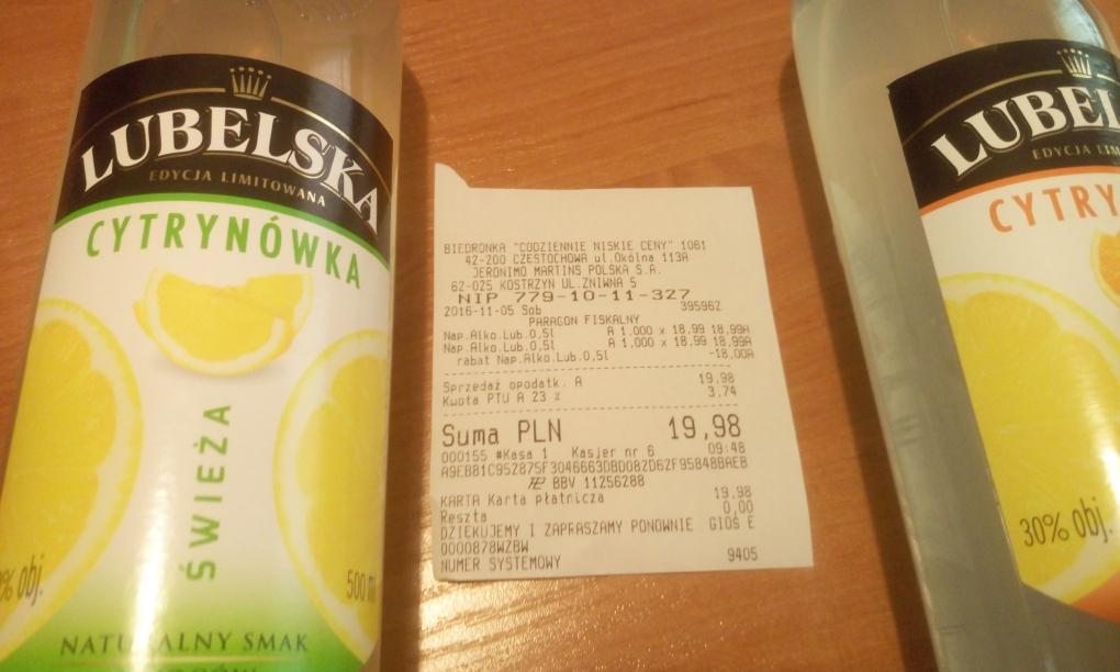 Lubelska cytrynowka / Wyborowa Gruszkowa i wiśniowa - 0,5l za 10zl. @Biedronka