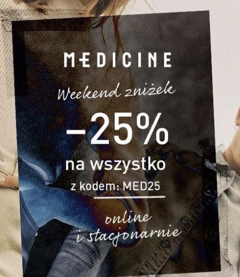 25% zniżki w Medicine na cały asortyment bez mwz