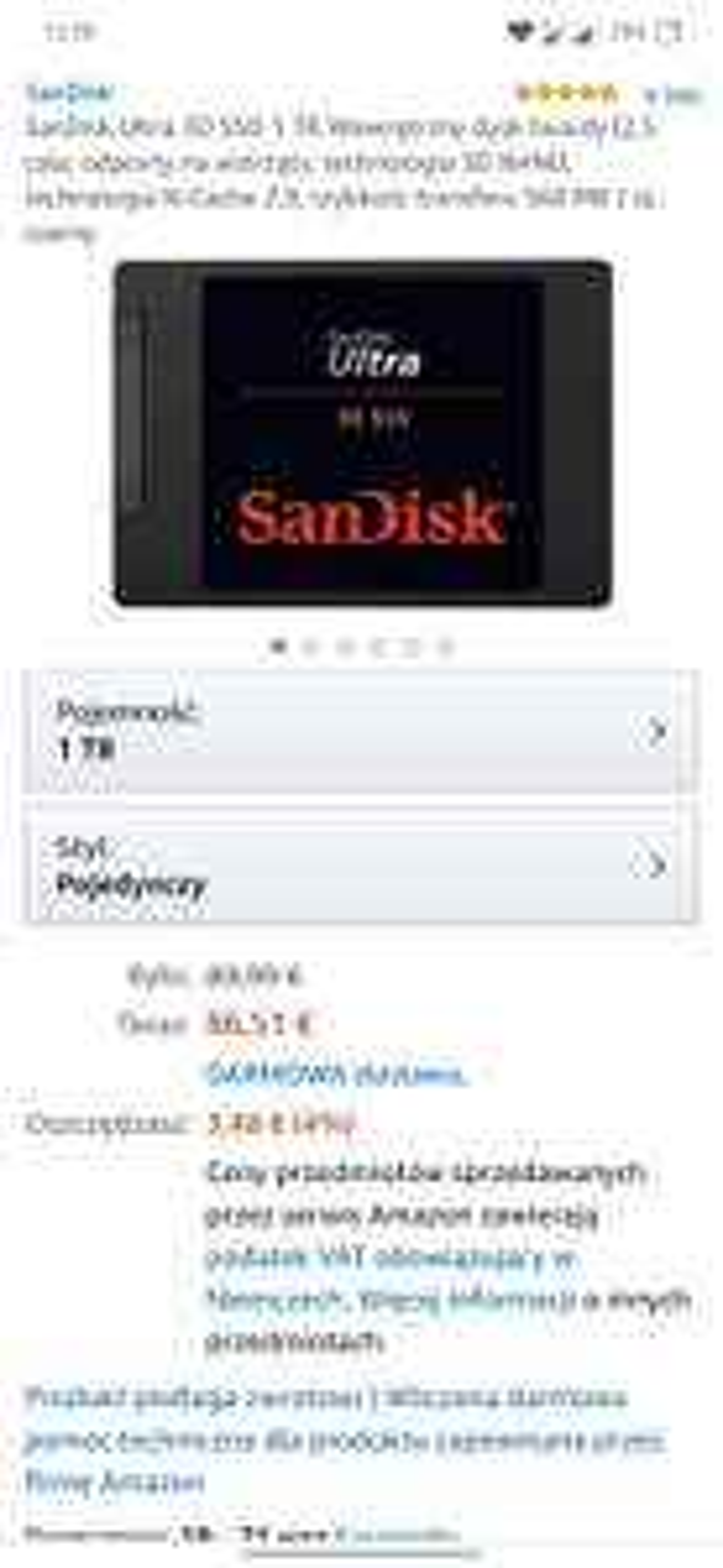 SanDisk Ultra 3D SSD 1 TB 92 euro